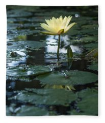 Yellow Lilly Tranquility Fleece Blanket