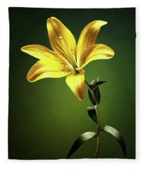 Yellow Lilly With Stem Fleece Blanket