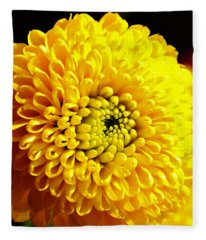 Yellow Mum Fleece Blanket