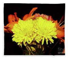 Yellow Mums And Orange Lilies  Fleece Blanket