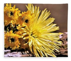 Yellow Mums In Morning Light Fleece Blanket