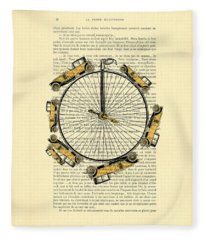 Yellow Oldtimers On A Bicycle Wheel Antique Illustration On Book Page Fleece Blanket