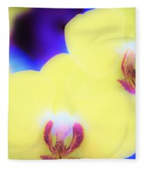 Yellow Orchid Fleece Blanket