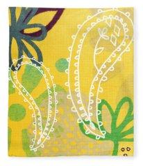 Yellow Paisley Garden Fleece Blanket
