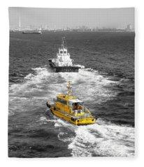 Yellow Pilot Yokohama Port Fleece Blanket