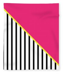 Yellow Pink And Black Geometric 2 Fleece Blanket