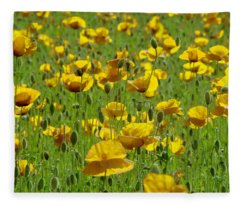 Yellow Poppy Field Fleece Blanket