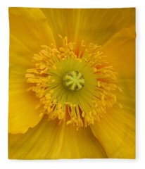 Yellow Poppy Flower Center Fleece Blanket