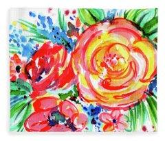 Yellow Rose Red Fleece Blanket