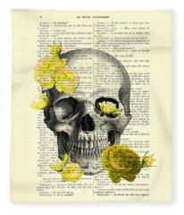 Yellow Rose Digital Art Fleece Blankets