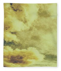 Yellow Toned Textured Grungy Cloudscape Fleece Blanket