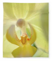 Yellow Touch. Green Orchid Fleece Blanket