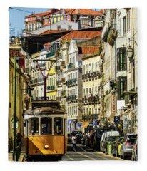 Yellow Tram In Downtown Lisbon, Portugal Fleece Blanket