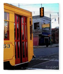 Yellow Trolley At Earnestine And Hazels Fleece Blanket