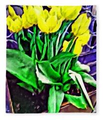 Yellow Tulips Fleece Blanket