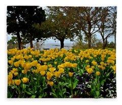 Yellow Tulips Of Fairhope Alabama Fleece Blanket