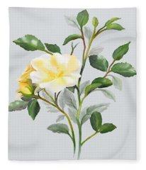 Yellow Watercolor Rose Fleece Blanket