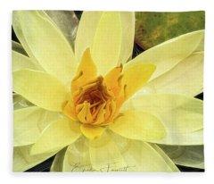Yellow Waterlily Fleece Blanket