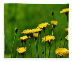 Yellow Wildflowers Fleece Blanket