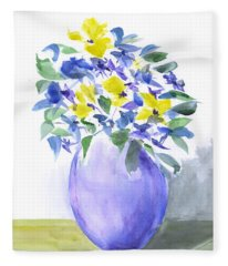 Yellows And Violets Palette Knife Watercolor Painting Fleece Blanket