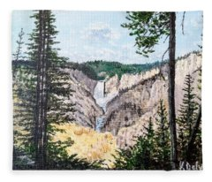 Yellowstone Falls Fleece Blanket