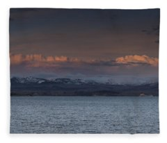 Yellowstone Lake At Sunset Fleece Blanket