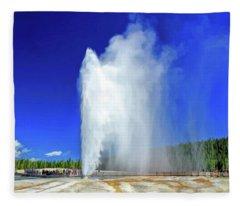 Yellowstone National Park Beehive Geyser Fleece Blanket
