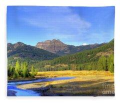 Yellowstone National Park Landscape Fleece Blanket