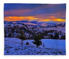 Yellowstone Winter Morning Fleece Blanket