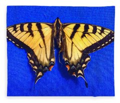 Yellowswallowtail Butterfly Fleece Blanket