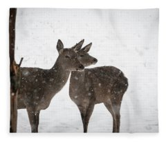 Yep, It's Snowing - Deer In The Snow Fleece Blanket
