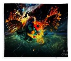 Yin Yang Dragon Fleece Blanket