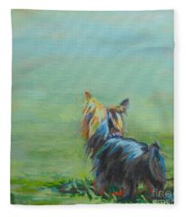 Yorkie In The Grass Fleece Blanket