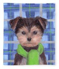 Yorkie Poo With Scarf Fleece Blanket