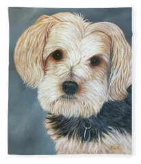 Yorkie Portrait Fleece Blanket