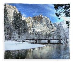 Yosemite Falls Swinging Bridge Yosemite National Park Fleece Blanket