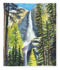 Yosemite Falls Watercolor Painting Fleece Blanket