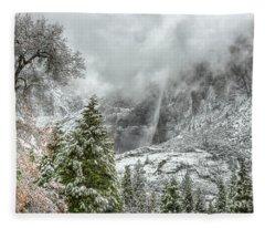 Yosemite Falls Winter Fury Fleece Blanket