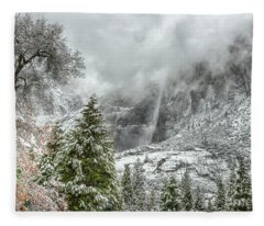 Yosemite Falls Winter Fury Fleece Blanket