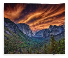 Yosemite Fire Fleece Blanket