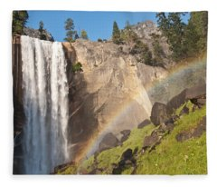 Yosemite Mist Trail Rainbow Fleece Blanket