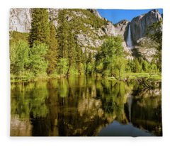 Yosemite Reflections On The Merced River Fleece Blanket
