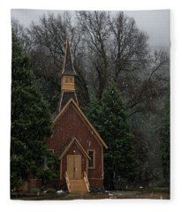 Yosemite Valley Chapel Winter Storm Fleece Blanket