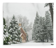 Yosemite Valley Chapel Winter Fleece Blanket