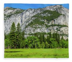 Yosemite West Valley Meadow Panorama #2 Fleece Blanket