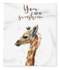You Are My Sunshine Giraffe Fleece Blanket