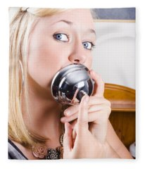 Young Blonde Woman Ringing The Bell Of Lip Service Fleece Blanket