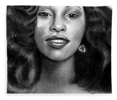 Young Chaka Khan - Charcoal Art Drawing Fleece Blanket