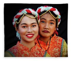 Young Chinese Cultural Dancers Fleece Blanket