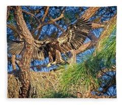 Young Eagle On Nest Fleece Blanket